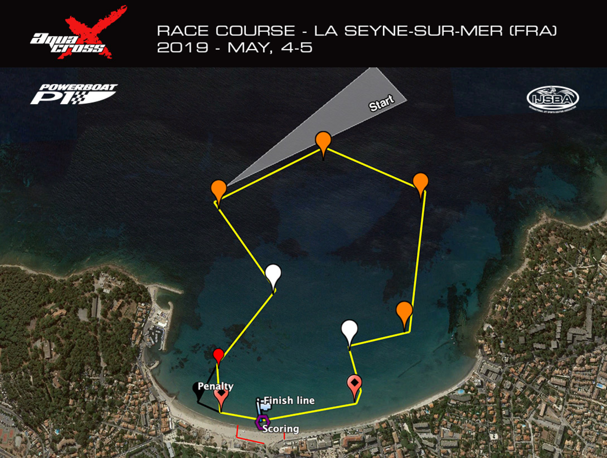 AquaX tentative race course - 4 km / 2.2 miles