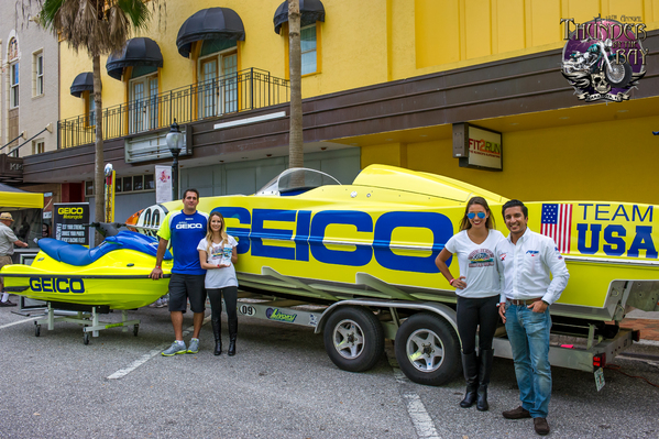 Russo and P1 USA Managing Director Azam Rangoonwala came out to the Thunder By the Bay Festival in Sarasota, Florida to announce the GEICO sponsorship
