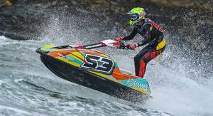 Harry Robinson cruising on his ski in a wet and bumpy Torquay last month