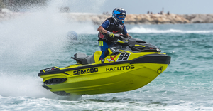 Jordi Tomas Jimenez riding his Sea-Doo RXT flies into fourth