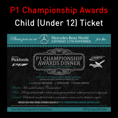 Picture of P1 Championship Awards Dinner - Child (Under 12)