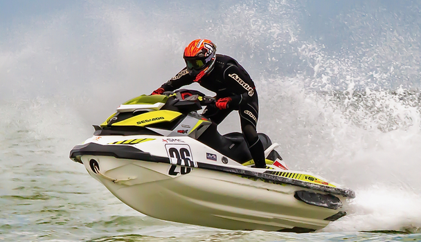 Riders take to the water on the Belgian coast